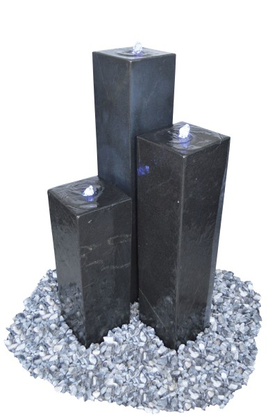 Granit-Säule schwarz, poliert, gebohrt