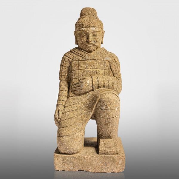 Greenstone Chinesischer Krieger, kniend