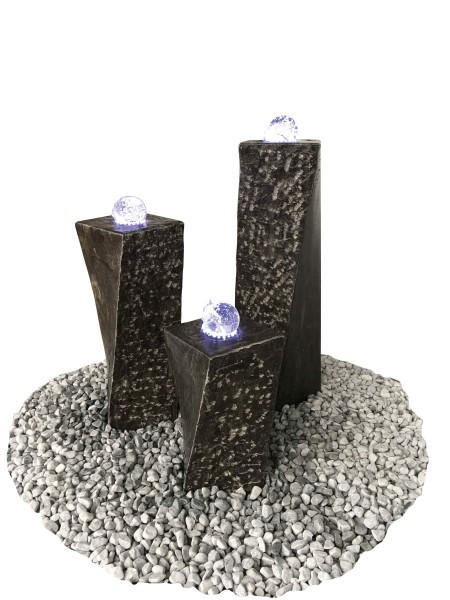 Limestone Wasserspiel Zürich mit Glaskugeln + LED, 3er Set