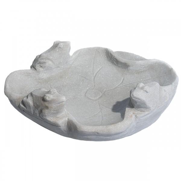 Marmorvogeltränke rund, grau-weiß