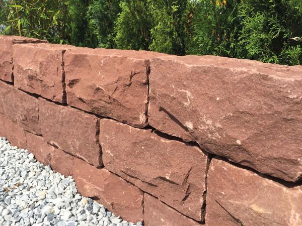 Sandstein Mauerstein rot, spaltrau