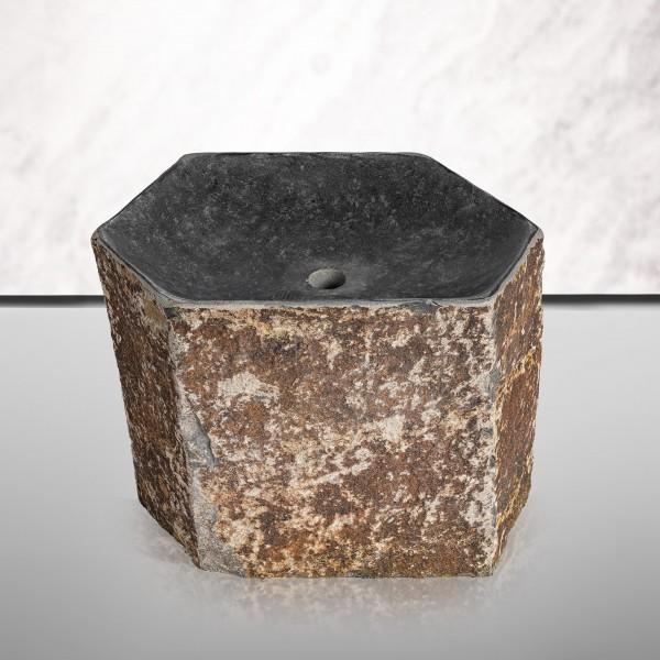 Basaltsäule Bari mit poliertem tiefen Kelch