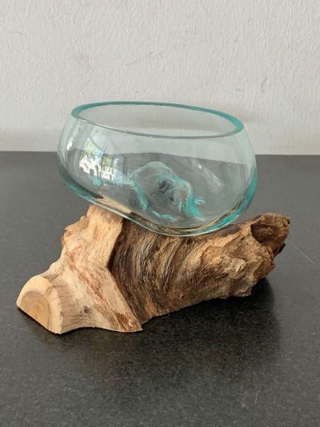 Glas auf Wurzel Schale